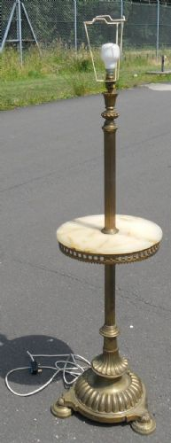 Brass Column Standard Lamp with Pad Feet